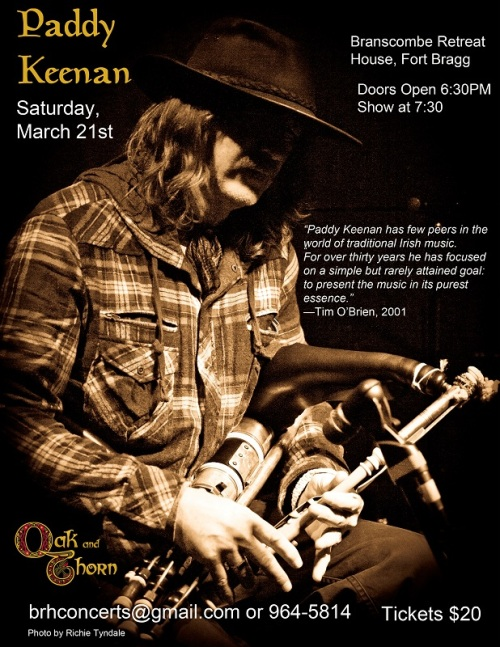 Paddy Keenan plays at a house concert in Fort Bragg on March 20